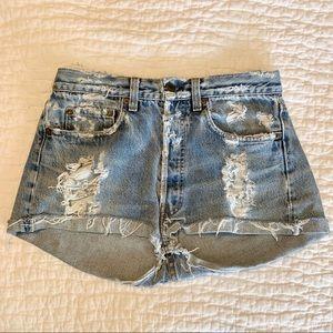 Vintage Levi's Destroyed Denim Shorts